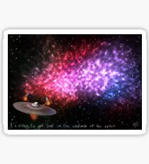 It's easy to get lost in the vastness of the space Sticker