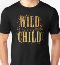 WILD CHILD in gold foil (image) Unisex T-Shirt