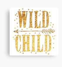 WILD CHILD in gold foil (image) Canvas Print