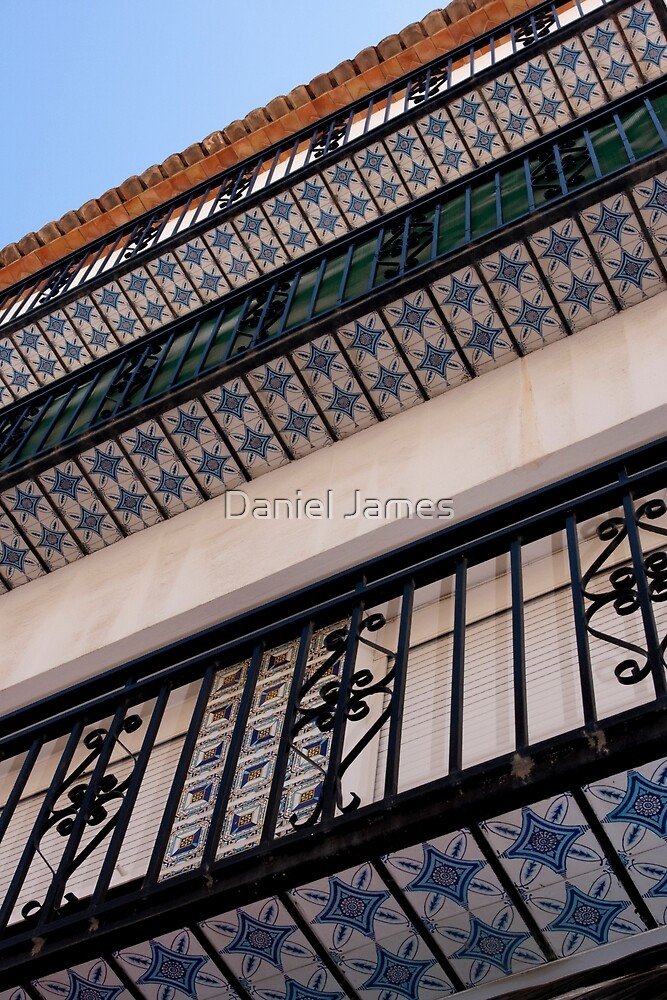 Abstract-02 - Blue Pattern Tiered Tiled Building by Daniel James
