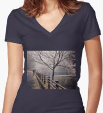 Strolling in the Rain Women's Fitted V-Neck T-Shirt