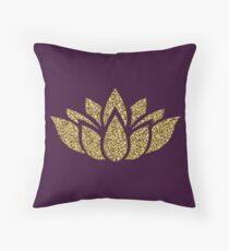 Gold Glitter Lotus Flower Throw Pillow