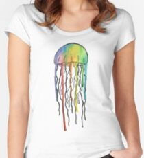 Watercolor Jellyfish Design Women's Fitted Scoop T-Shirt