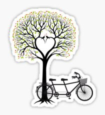 Heart wedding tree with birds and tandem bicycle  Sticker