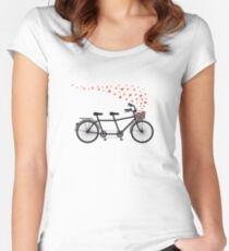 tandem bicycle and flying red hearts for Valentine's day, wedding invitation Women's Fitted Scoop T-Shirt