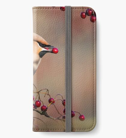 Waxwing with berry iPhone Wallet