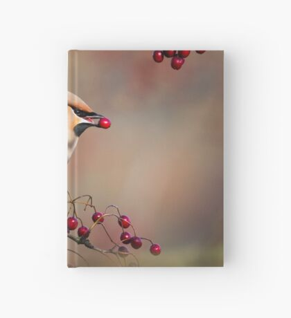Waxwing with berry Hardcover Journal