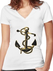 Black And Gold Glitter nautical Boat Anchor Women's Fitted V-Neck T-Shirt