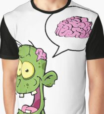 Zombie Brains funny Cartoon Graphic Graphic T-Shirt