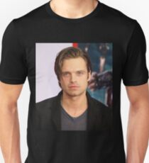 Sebastian Stan w/ Long Slicked-Back Hair Unisex T-Shirt