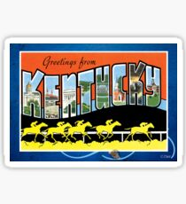 Vintage Kentucky Horse Racing Greeting Post Card Sticker