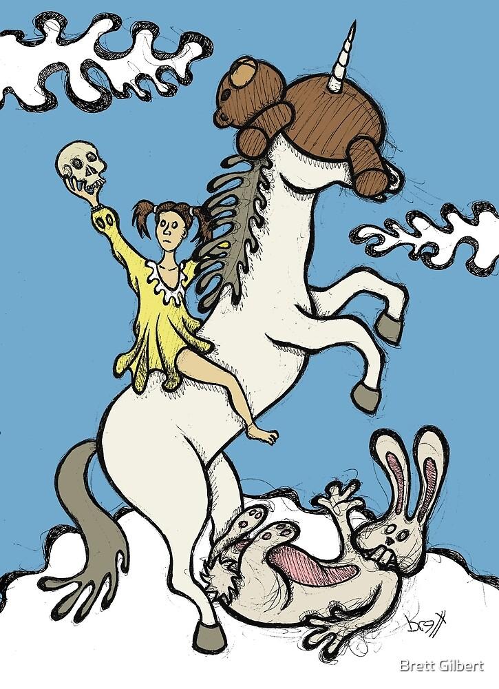 « Ours en peluche et lapin - Unicorn Ride » par Brett Gilbert