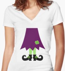 Vector - Stylized retro Witch legs Women's Fitted V-Neck T-Shirt