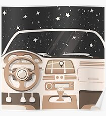 Vehicle interior. Inside car. Night sky Poster