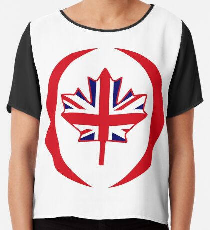 British Canadian Multinational Patriot Flag Series Chiffon Top