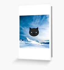 Dragonfly - Kawaii Black Cat Blue Eyes - Mountain Background Greeting Card