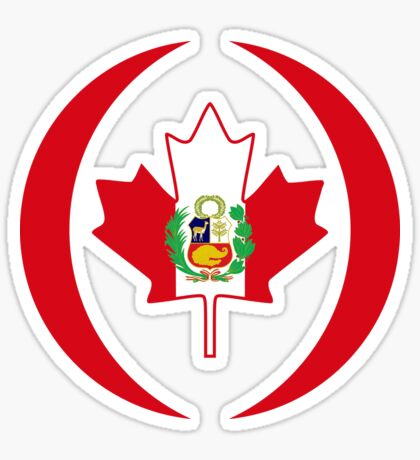 Peruvian Canadian Multinational Patriot Flag Series Sticker