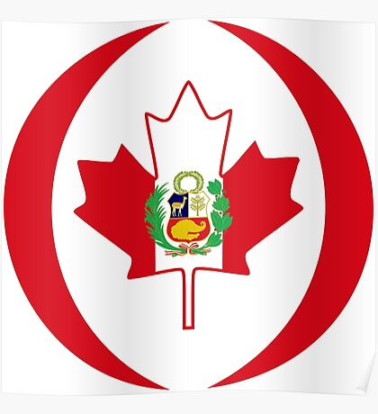 Peruvian Canadian Multinational Patriot Flag Series Poster