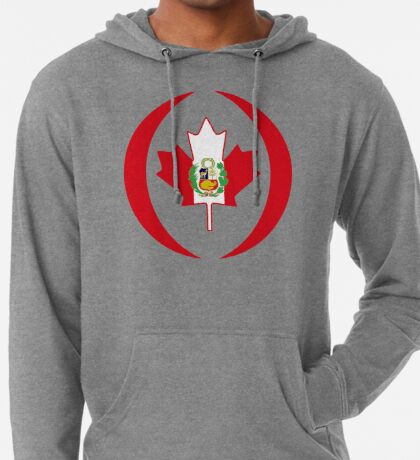 Peruvian Canadian Multinational Patriot Flag Series Lightweight Hoodie