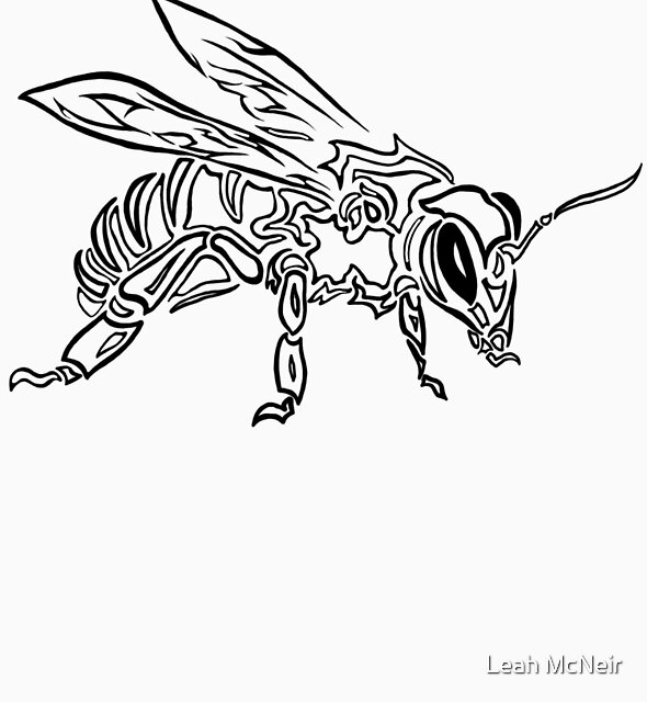 """""""Bee Spirit"""" ver.1 - Surreal abstract tribal bee totem animal by Leah McNeir"""