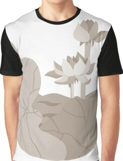 Sepia colored Lotus Graphic T-Shirt