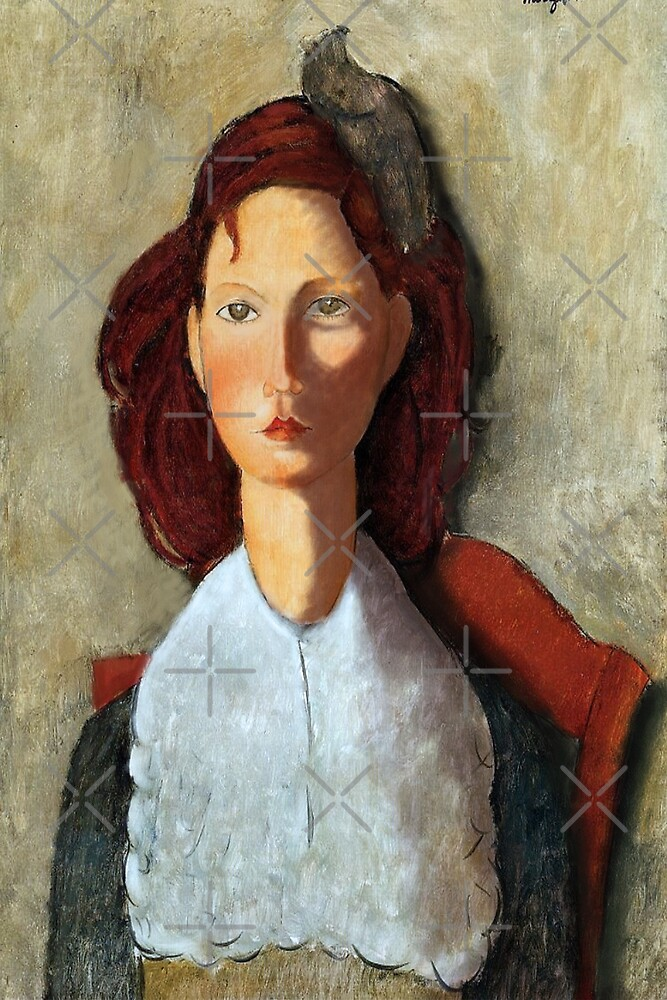 Young Girl, Seated, by Amedeo Modigliani by Mel Brackstone