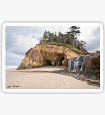 Waterfall Flowing into the Pacific Ocean Sticker