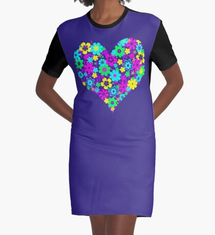 Flowers from the Heart Graphic T-Shirt Dress