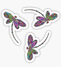 Neon Trinity Dragonflies Sticker