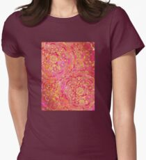 Hot Pink and Gold Baroque Floral Pattern Womens Fitted T-Shirt