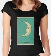 Tarot Card - La Luna - loteria - The moon Women's Fitted Scoop T-Shirt