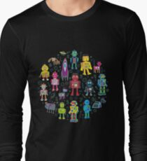 Robots in Space - black - fun pattern by Cecca Designs Long Sleeve T-Shirt