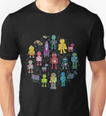 Robots in Space - black - fun pattern by Cecca Designs T-Shirt