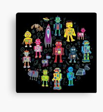 Robots in Space - black Canvas Print