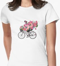 85a6c0148 floral bicycle Women s Fitted T-Shirt