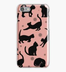 Retro Cats: Pink iPhone Case/Skin