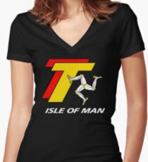 TT TOURIST TROPHY - ISLE OF MAN Women's Fitted V-Neck T-Shirt