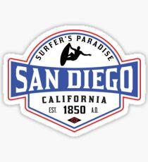 SURFING SAN DIEGO SURF CALIFORNIA SURFER'S PARADISE BEACH SURFBOARD Sticker