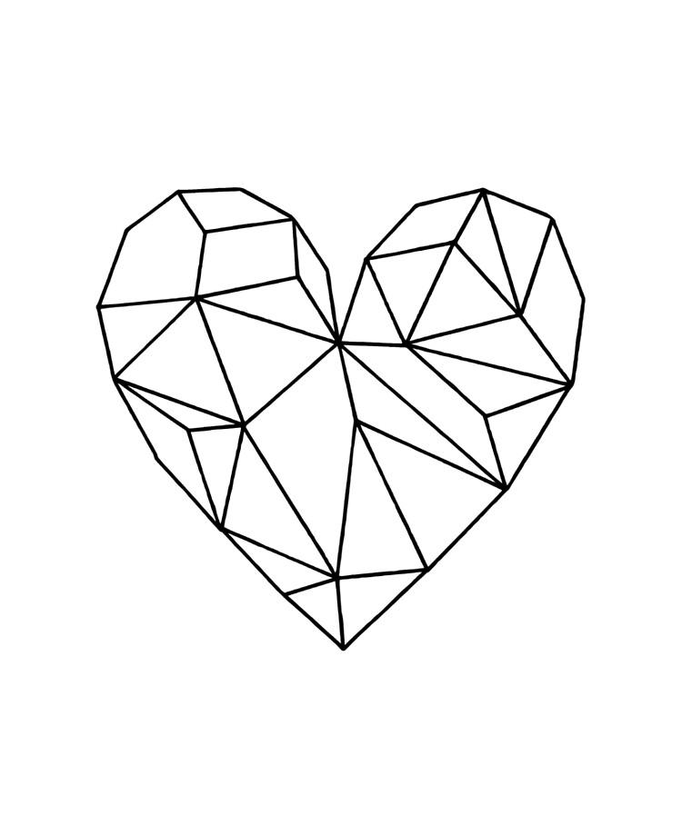 Black Aesthetic Transparent Geometric Heart Ipad Case Skin By