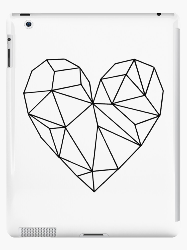 Black Aesthetic Transparent Geometric Heart Ipad Cases Skins By