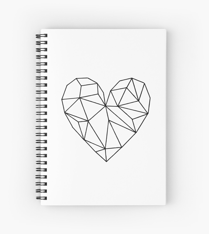 u0026quot black aesthetic transparent geometric heart u0026quot  spiral