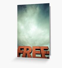 Capital letters FREE with cloudy sky Greeting Card