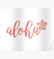Aloha Hawaii Plumeria Watercolor Floral Poster