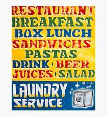 Vintage retro sign with shop tourist services Photographic Print