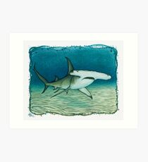 Great Hammerhead Shark ~ watercolor painting by Amber Marine Art Print