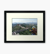 The Lego Backpacker Checking out the Great Wall Framed Print