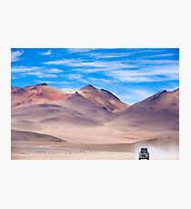 Off-road vehicle driving in the Atacama desert, Bolivia Photographic Print
