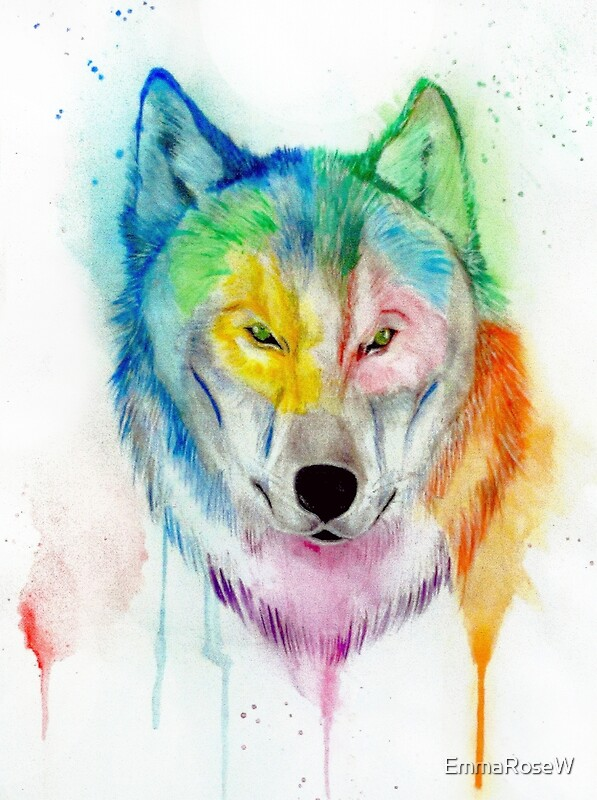 wolf watercolor drip painting art prints by emmarosew