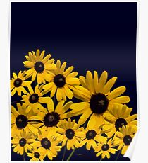 Beautiful Yellow Abstract Flowers  Poster