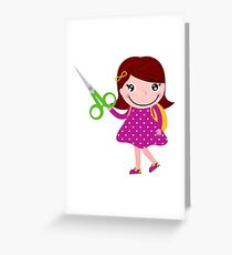 Cute happy child with shears. Cartoon illustration Greeting Card